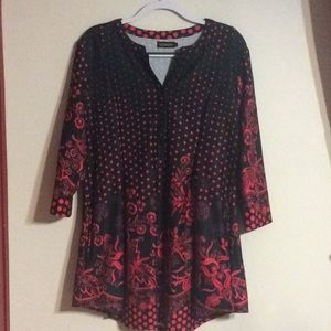 Reborn Red & Black  Tunic Top w/pockets!